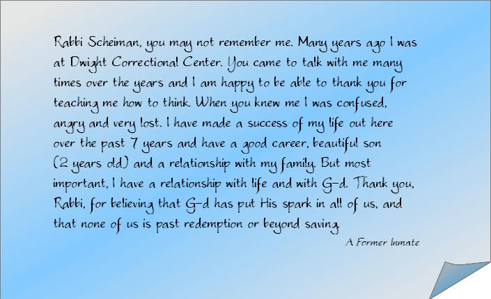 A Former Inmate of Dwight Correctional Center Sends Thanks